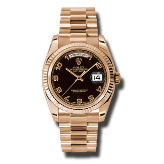 Rolex Day-Date Black Dial 18K Everose Gold President Automatic Ladies Watch 118235BKAP | Joma Shop
