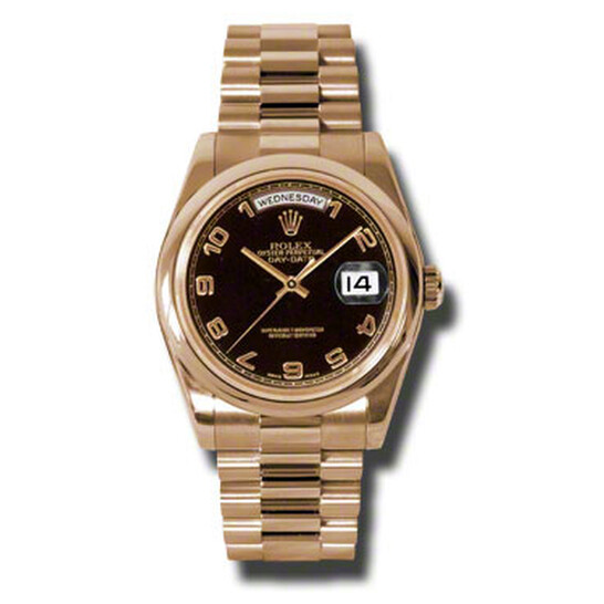 Rolex Day-Date Black Dial 18K Everose Gold President Automatic Men's Watch 118205BKAP   Joma Shop