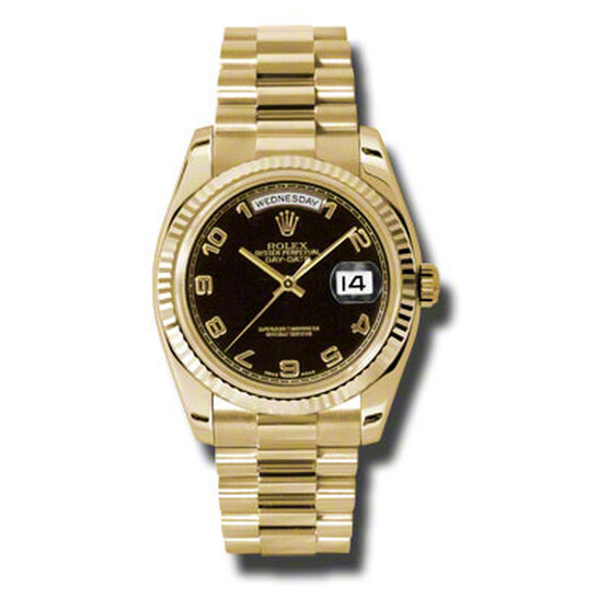 Rolex Day-Date Black Dial 18K Yellow Gold President Automatic Men's Watch 118238BKAP   Joma Shop