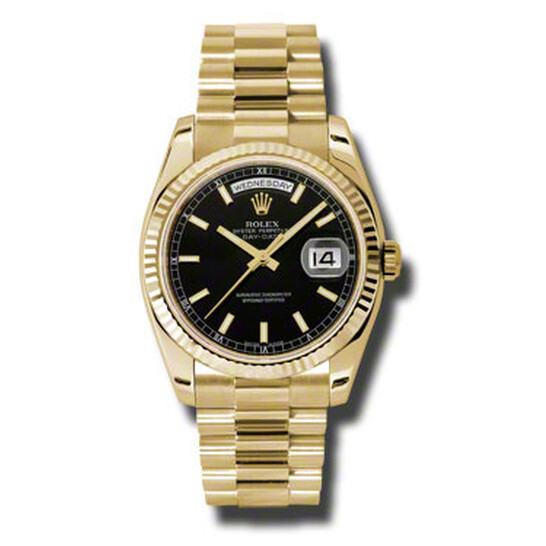 Rolex Day-Date Black Dial 18K Yellow Gold President Automatic Men's Watch 118238BKSP | Joma Shop