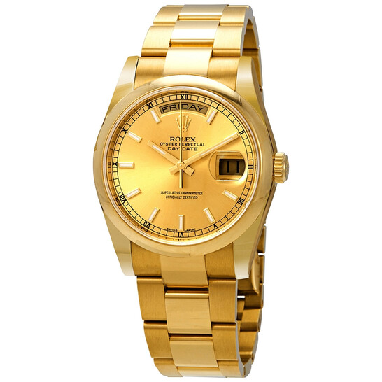 Rolex Day-Date Champagne Dial 18K Yellow Gold Oyster Bracelet Automatic Men's Watch 118208CSO   Joma Shop