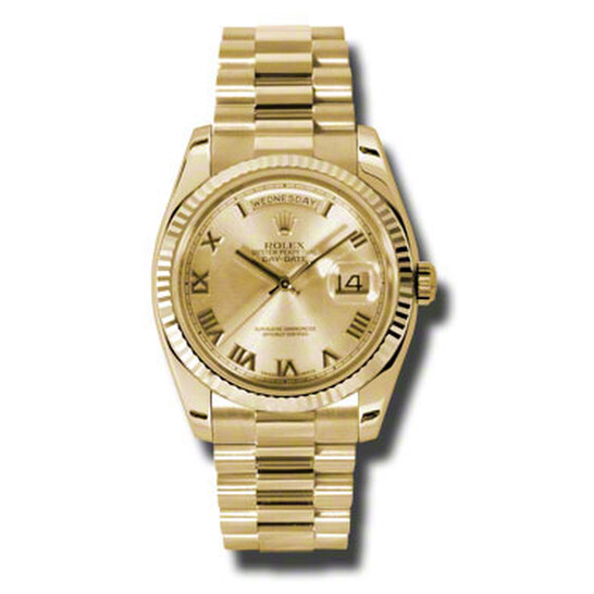 Rolex Day-Date Champagne Dial 18K Yellow Gold President Automatic Men's Watch 118238CRP | Joma Shop