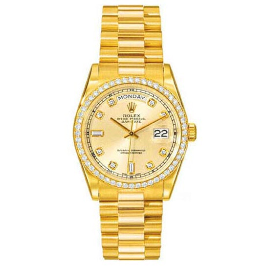 Rolex Day-Date Champagne Dial 18K Yellow Gold President Automatic Men's Watch 118348CDP | Joma Shop