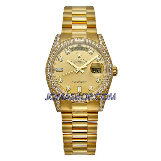 Rolex Day-Date Champagne Dial 18K Yellow Gold President Automatic Men's Watch 118388CDP   Joma Shop