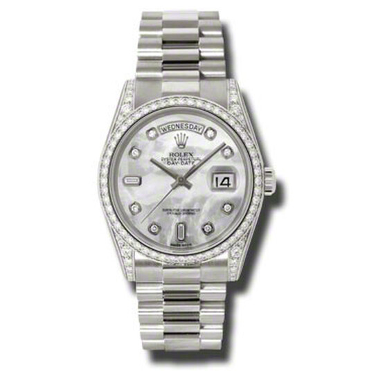 Rolex Day-Date Mother Of Pearl Dial 18K White Gold President Automatic Ladies Watch 118389MDP | Joma Shop