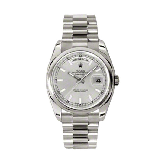 Rolex Day-Date Silver Dial 18K White Gold President Automatic Men's Watch 118209SSP | Joma Shop