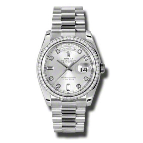 Rolex Day-Date Silver Dial Platinum President Automatic Ladies Watch 118346SDP | Joma Shop