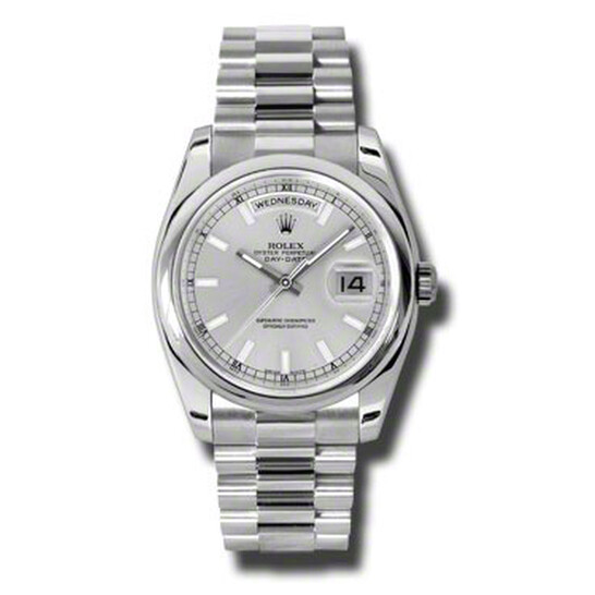 Rolex Day-Date Silver Dial Platinum President Automatic Men's Watch 118206SSP | Joma Shop