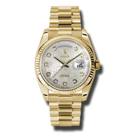 Rolex Day-Date Silver Dial 18K Yellow Gold President Automatic Men's Watch 118238SJDP   Joma Shop