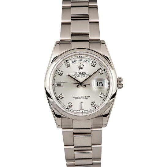 Rolex Day-Date Silver With Diamonds Dial 18K White Gold Oyster Bracelet Automatic Men's Watch 118209SDO | Joma Shop