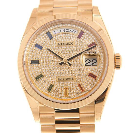 Rolex Day-Date President Yellow Gold Paved-Rainbow Automatic Chronometer Diamond Ladies Watch 128238-0051   Joma Shop