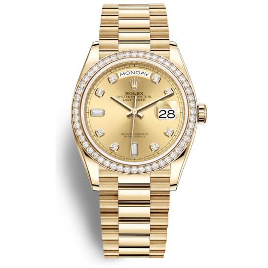 Rolex Day-Date 36 Automatic Diamond Champagne Dial 18kt Yellow Gold President Watch 128348CDP | Joma Shop