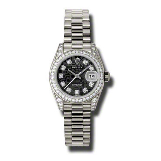 Rolex Lady-Datejust 26 Black Dial 18K White Gold President Automatic Ladies Watch 179159BKJDP   Joma Shop