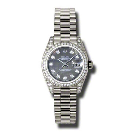 Rolex Lady-Datejust 26 Black Mother Of Pearl Dial 18K White Gold President Automatic Ladies Watch 179159BKMDP | Joma Shop