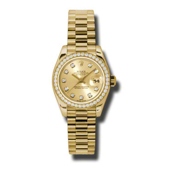 Rolex Lady-Datejust 26 Champagne Dial 18K Yellow Gold President Automatic Ladies Watch 179138CDP   Joma Shop