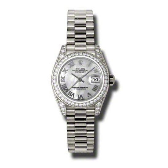 Rolex Lady-Datejust 26 Mother Of Pearl Dial 18K White Gold President Automatic Ladies Watch 179159MRP   Joma Shop