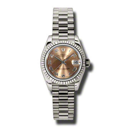Rolex Lady-Datejust 26 Pink Dial 18K White Gold President Automatic Ladies Watch 179179PRP   Joma Shop