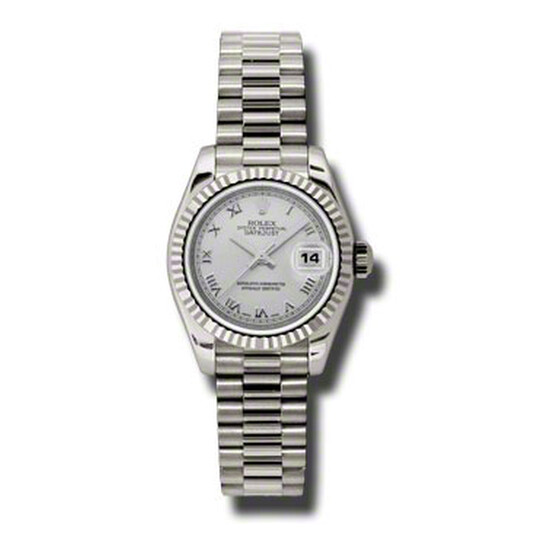 Rolex Lady-Datejust 26 Silver Dial 18K White Gold President Automatic Ladies Watch 179179SRP   Joma Shop