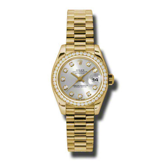 Rolex Lady-Datejust 26 Silver Dial 18K Yellow Gold President Automatic Ladies Watch 179138SDP   Joma Shop