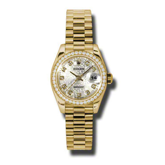 Rolex Lady-Datejust 26 Silver Dial 18K Yellow Gold President Automatic Ladies Watch 179138SJDP   Joma Shop