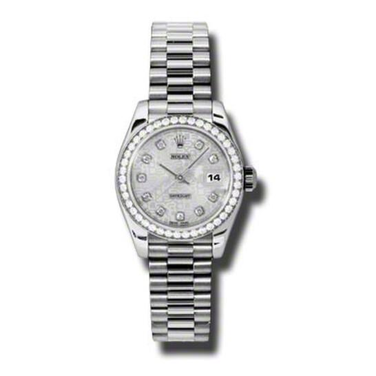 Rolex Lady-Datejust 26 Silver Dial Platinum President Automatic Ladies Watch 179136SJDP | Joma Shop