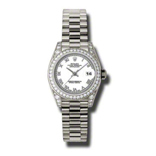 Rolex Lady-Datejust 26 White Dial 18K White Gold President Automatic Ladies Watch 179159WRP | Joma Shop