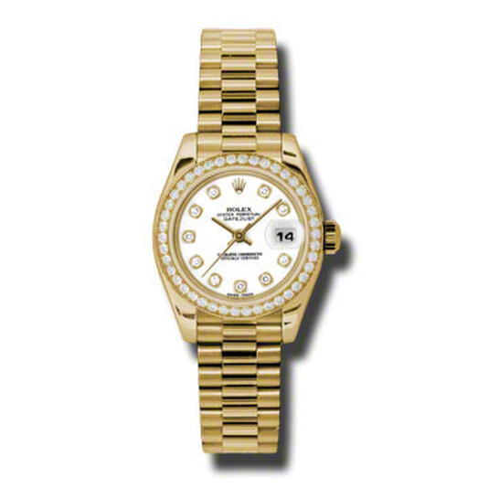 Rolex Lady-Datejust 26 White Dial 18K Yellow Gold President Automatic Ladies Watch 179138WDP | Joma Shop