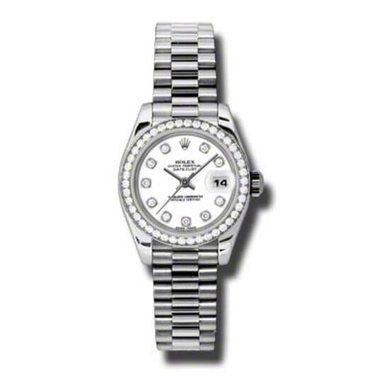 Rolex Lady-Datejust 26 White Dial Platinum President Automatic Ladies Watch 179136WDP | Joma Shop