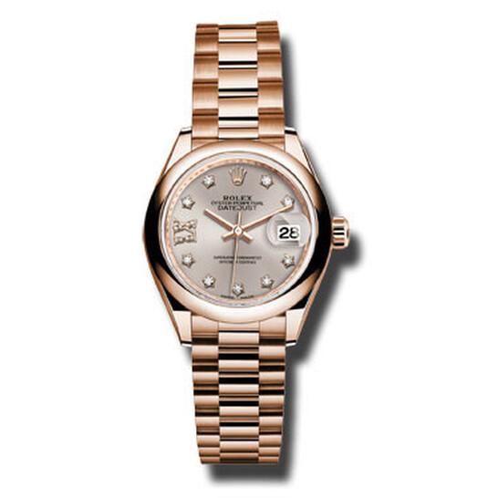 Rolex Lady-Datejust 28 Sundust Dial 18K Everose Gold President Automatic Ladies Watch 279165SNRDP | Joma Shop