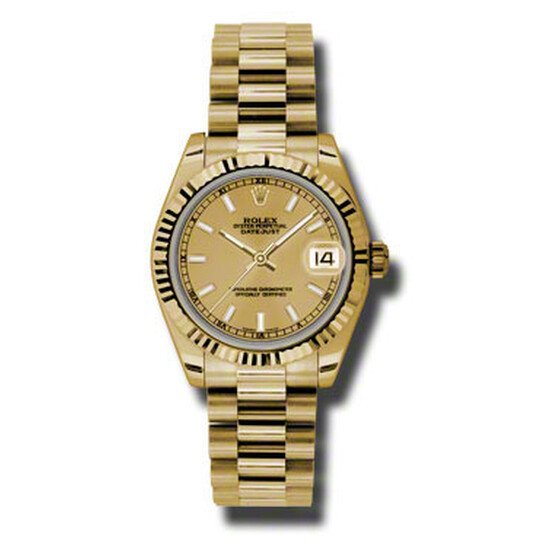 Rolex Lady-Datejust 31 Champagne Dial 18K Yellow Gold President Automatic Ladies Watch 178278CSP   Joma Shop