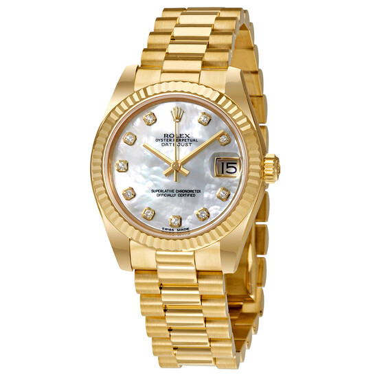 Rolex Lady-Datejust 31 Mother of Pearl Dial 18K Yellow Gold President Automatic Ladies Watch 178278MDP | Joma Shop