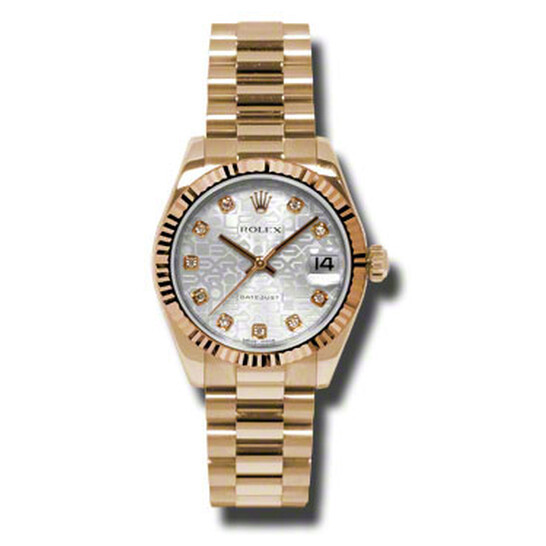 Rolex Lady-Datejust 31 Silver Dial 18K Everose Gold President Automatic Ladies Watch 178275SJDP   Joma Shop