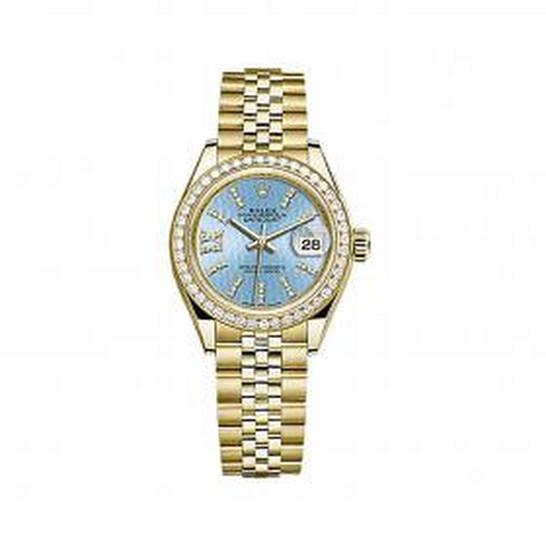 Rolex Lady-Datejust Blue Cornflower Diamond Dial 18 Carat Yellow Gold Jubilee Watch 279138BLSRDJ   Joma Shop