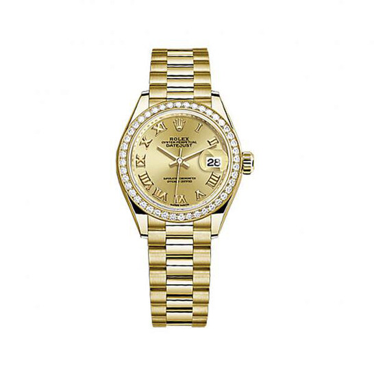 Rolex Lady-Datejust Champagne Dial 18 Carat Yellow Gold President Watch 279138CRP | Joma Shop