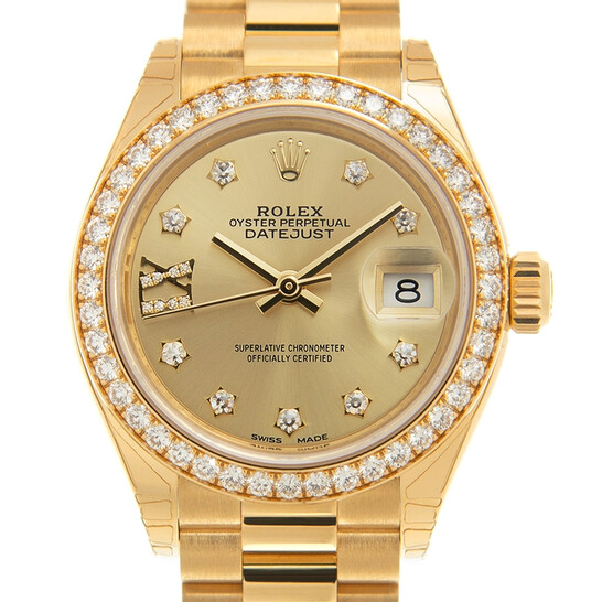Rolex Lady-Datejust Champagne Diamond Dial Automatic Ladies 18 Carat Yellow Gold President Watch 279138RBCDP | Joma Shop