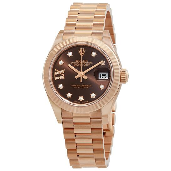 Rolex Lady Datejust Chocolate Dial 18K Everose Gold Diamond Automatic Watch 279175CHRDP | Joma Shop