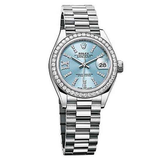 Rolex Lady-Datejust 28 Ice Blue Dial Platinum President Automatic Ladies Watch 279136IBLSRDP | Joma Shop