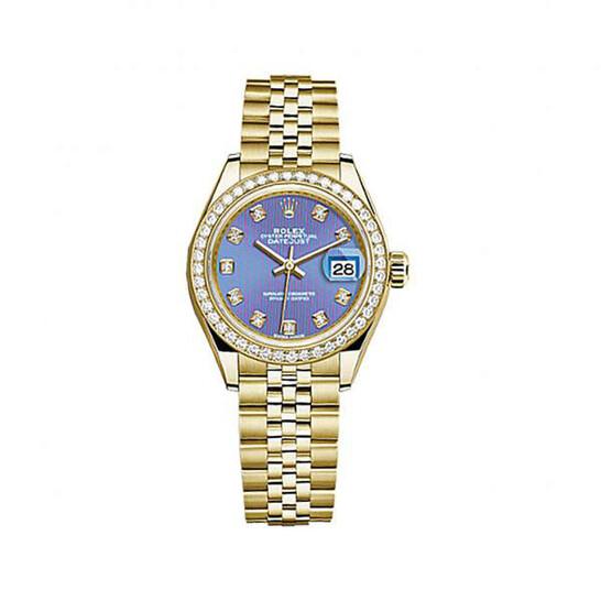 Rolex Lady-Datejust Lavender Dial 18 Carat Yellow Gold Jubilee Watch 279138LVDJ | Joma Shop