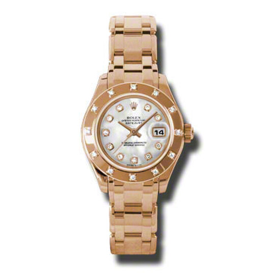 Rolex Lady-Datejust Pearlmaster Mother Of Pearl Diamond Dial 18K Everose Gold Automatic Ladies Watch 80315MDPM | Joma Shop