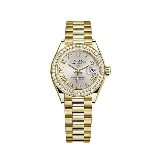 Rolex Lady-Datejust Silver Dial 18 Carat Yellow Gold President Watch 279138SRP | Joma Shop