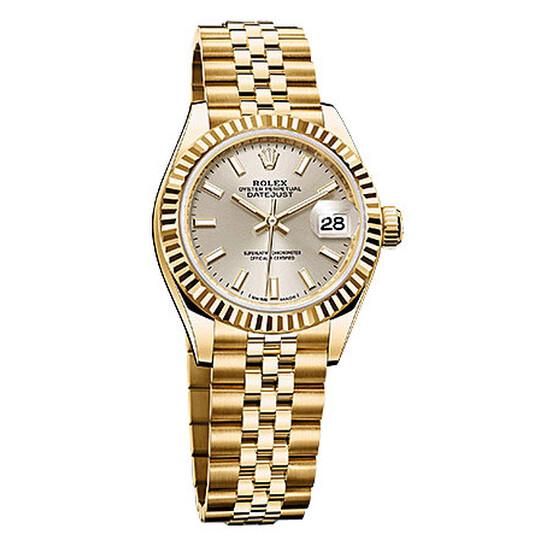 Rolex Lady Datejust 28 Silver Dial 18K Yellow Gold Jubilee Bracelet Automatic Watch 279178SSJ   Joma Shop