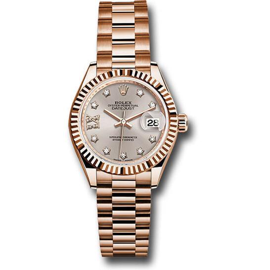 Rolex Lady Datejust Sundust Dial 18K Everose Gold Diamond Automatic Watch RLX279175SNRDP   Joma Shop