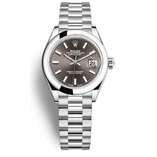 Rolex Lady-Datejust Grey Dial Automatic Platinum President Watch 279166GYSP | Joma Shop