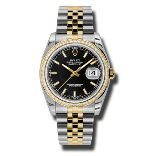 Rolex Oyster Perpetual Datejust 36 Black Dial Stainless Steel and 18K Yellow Gold Jubilee Bracelet Automatic Ladies Watch 116243BKSJ   Joma Shop