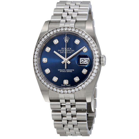 Rolex Oyster Perpetual Datejust 36 Blue Dial Stainless Steel Jubilee Bracelet Automatic Ladies Watch 116244BLDJ | Joma Shop