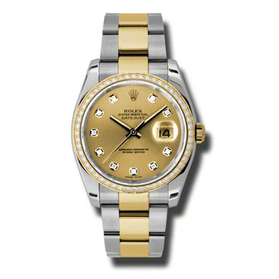 Rolex Oyster Perpetual Datejust 36 Champagne Dial Stainless Steel and 18K Yellow Gold Bracelet Automatic Ladies Watch 116243CDO   Joma Shop