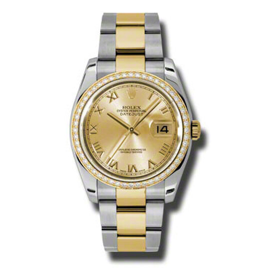 Rolex Oyster Perpetual Datejust 36 Champagne Dial Stainless Steel and 18K Yellow Gold Bracelet Automatic Ladies Watch 116243CRO   Joma Shop