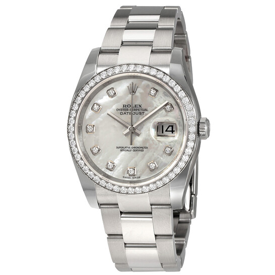 Rolex Oyster Perpetual Datejust 36 Mother of Pearl Dial Stainless Steel Bracelet Automatic Ladies Watch 116244MDO | Joma Shop