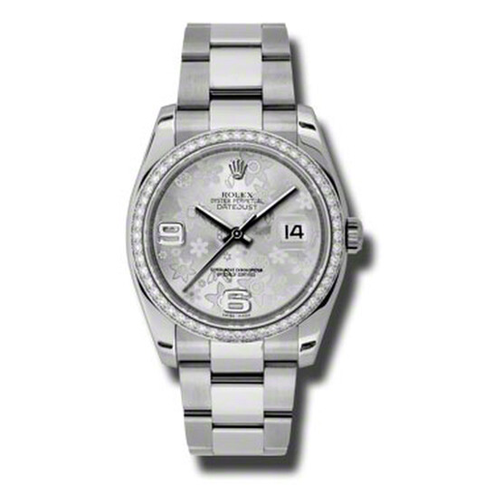 Rolex Oyster Perpetual Datejust 36 Silver Floral Dial Stainless Steel Bracelet Automatic Ladies Watch 116244SFAO | Joma Shop