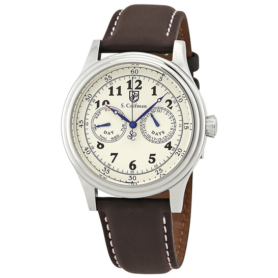S Coifman Ivory Dial Brown Leather Men's Watch SC0275   Joma Shop